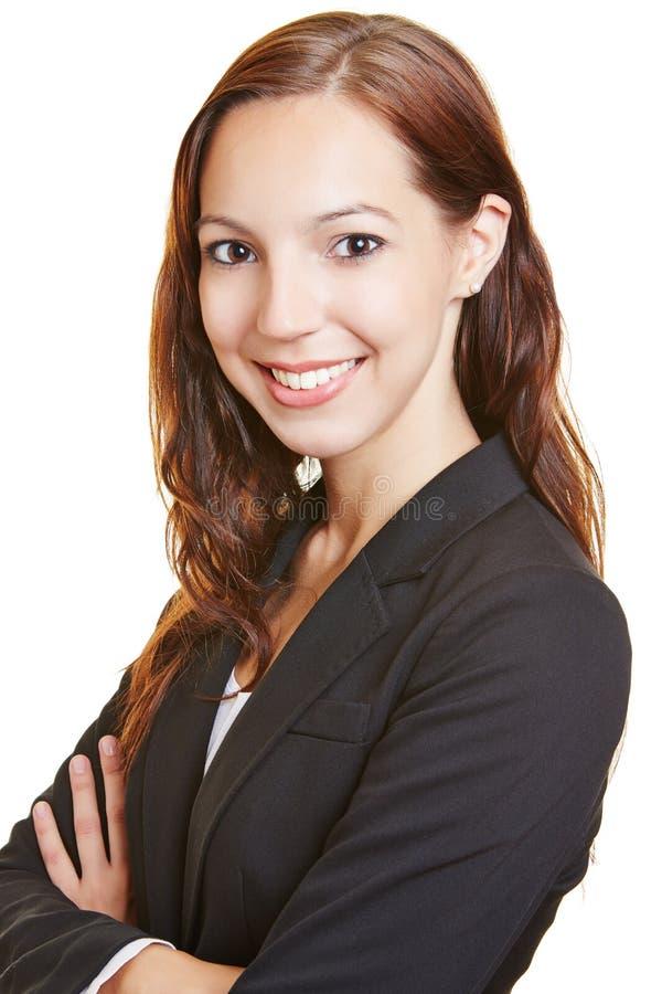 Tir principal de femme de sourire d'affaires photographie stock