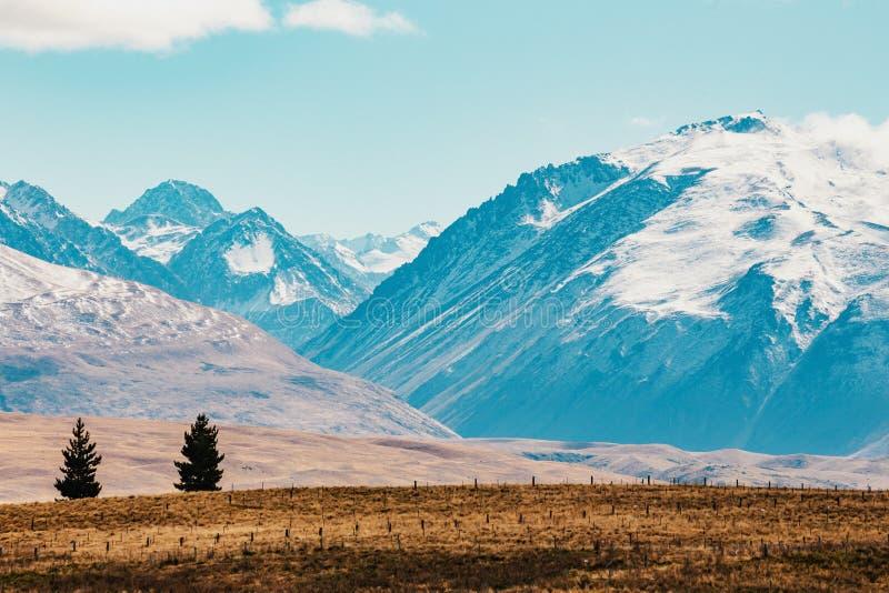 Tir scénique de paysage de montagne du Nouvelle-Zélande au cuisinier Nationa de bâti photographie stock