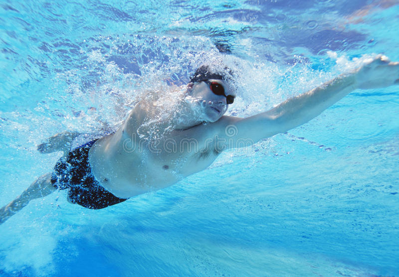 Tir sous-marin de la natation masculine professionnelle d'athlète dans la piscine image stock