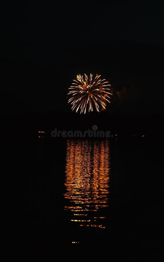 Tir vertical de beaux grands feux d'artifice dans la distance avec la réflexion dans l'eau image libre de droits