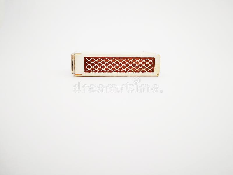 Tira da caixa do fósforo isolada com fundo branco fotografia de stock royalty free