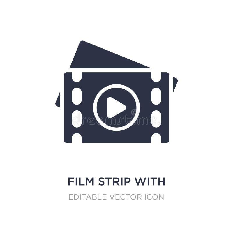 tira de la película con el icono del triángulo del juego en el fondo blanco Ejemplo simple del elemento del concepto del cine stock de ilustración