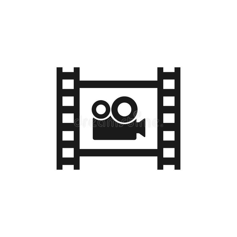 Tira de la película con el icono del vector de la cámara de vídeo Símbolo del cine libre illustration