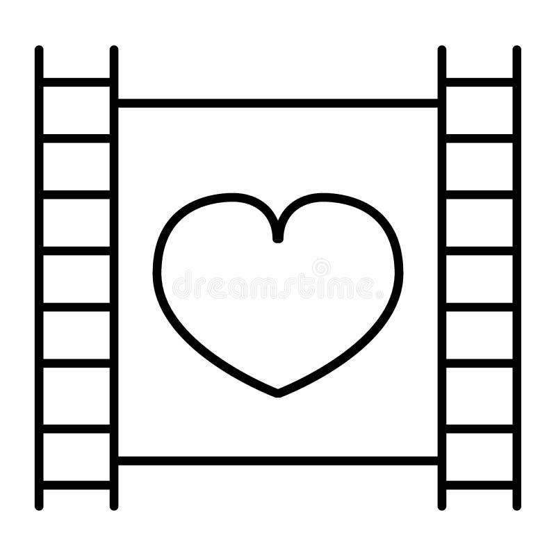 Tira de la película con la línea fina icono del corazón Ejemplo del vector del cine aislado en blanco Diseño del estilo del esque stock de ilustración