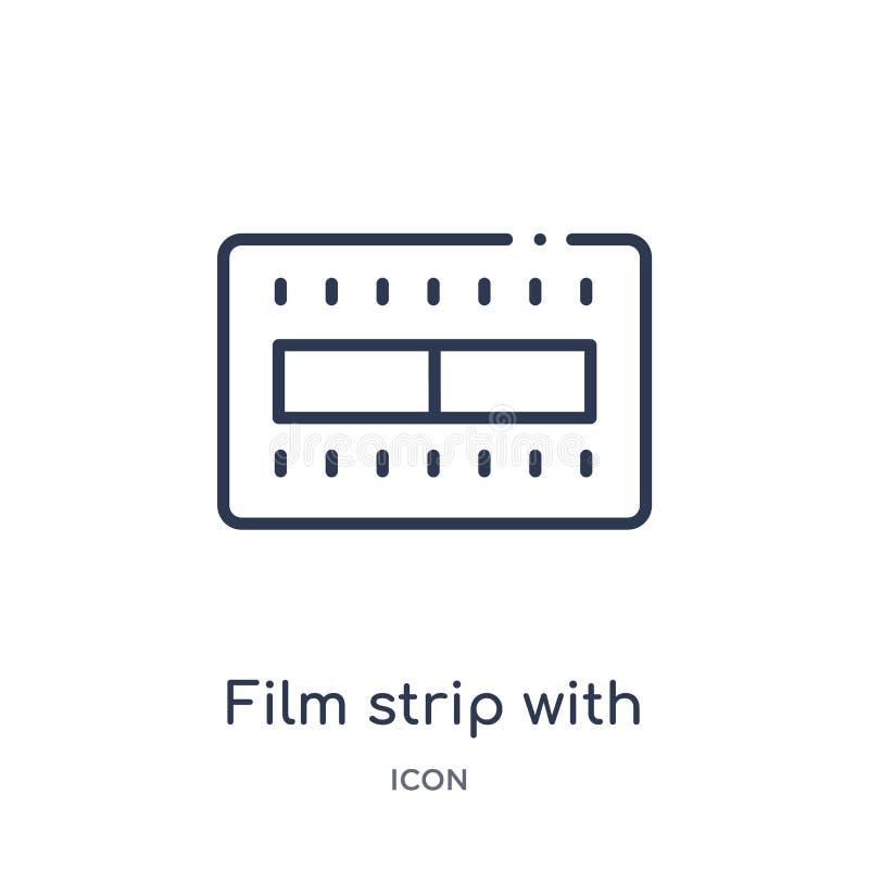 tira de la película con un triángulo dentro del icono de la colección del esquema de la interfaz de usuario Línea fina tira de la stock de ilustración