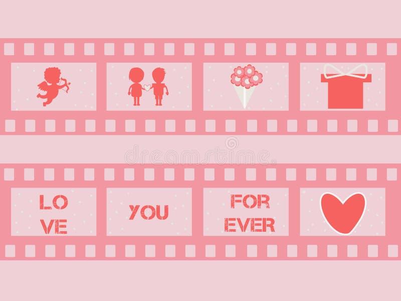 Tira de la película de la tarjeta del día de San Valentín con el cupido, corazones Vector ilustración del vector