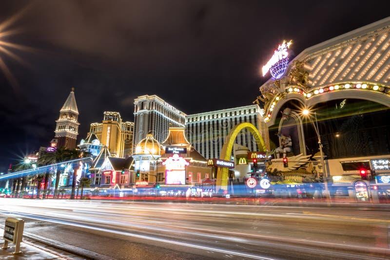 Tira de Las Vegas na noite - Las Vegas, Nevada, EUA fotos de stock