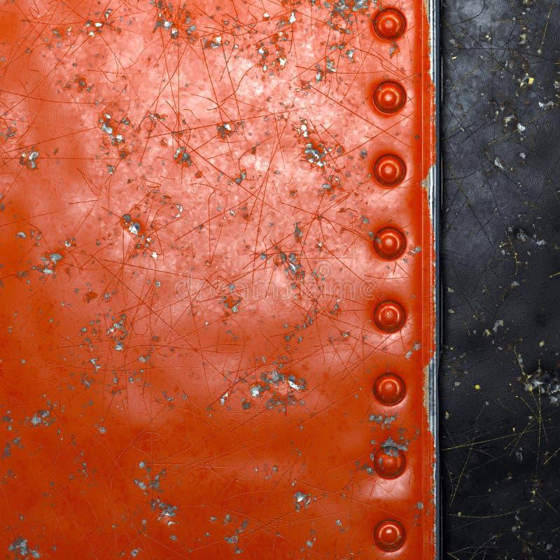 Tira de metal con remaches pintados de rojo en forma de rectángulo sobre fondo de metal negro 3d fotografía de archivo