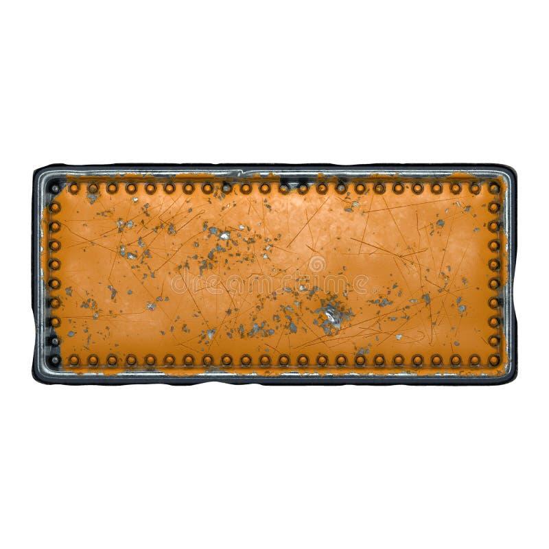 Tira de metal rusto con remaches en el centro contra fondo blanco 3d imagenes de archivo