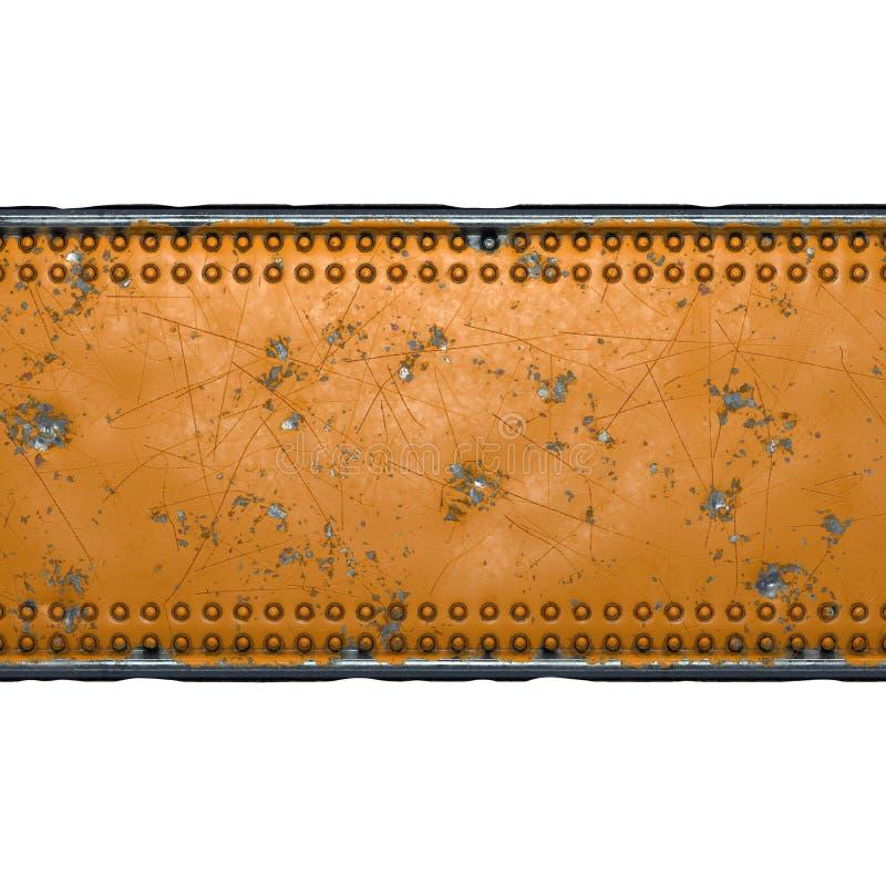 Tira de metal rusto con remaches en el centro contra fondo blanco 3d fotografía de archivo