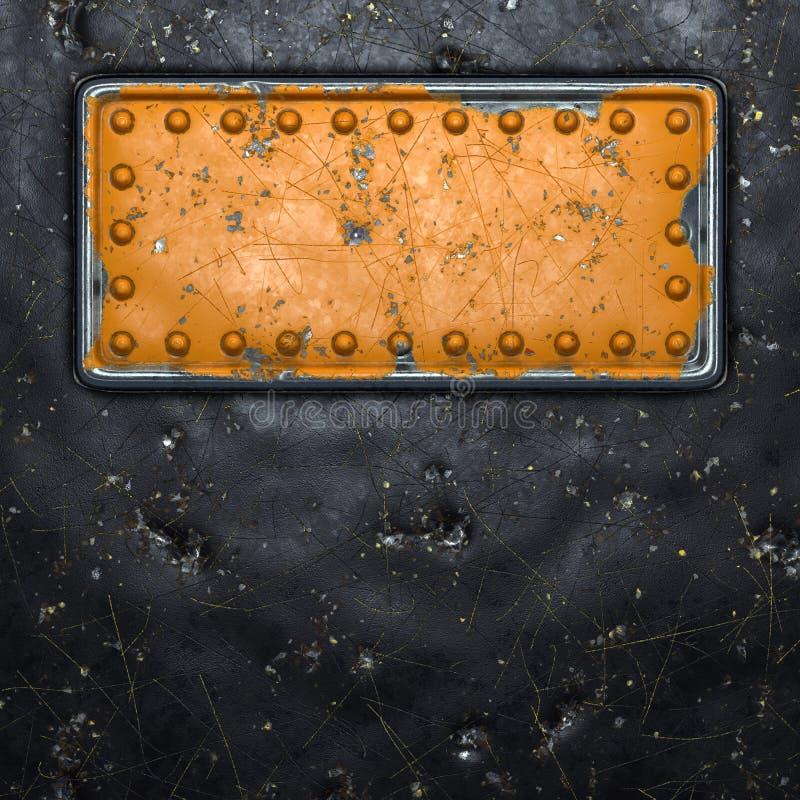 Tira de metal rusto con remaches en el centro contra fondo de metal negro 3d fotografía de archivo