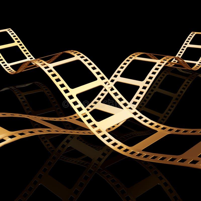 Tira de oro de la película dos 3d ilustración del vector