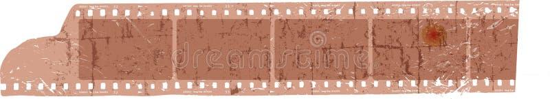 Tira de película sucia, marcos en blanco de la foto, espacio libre para las imágenes, VE ilustración del vector