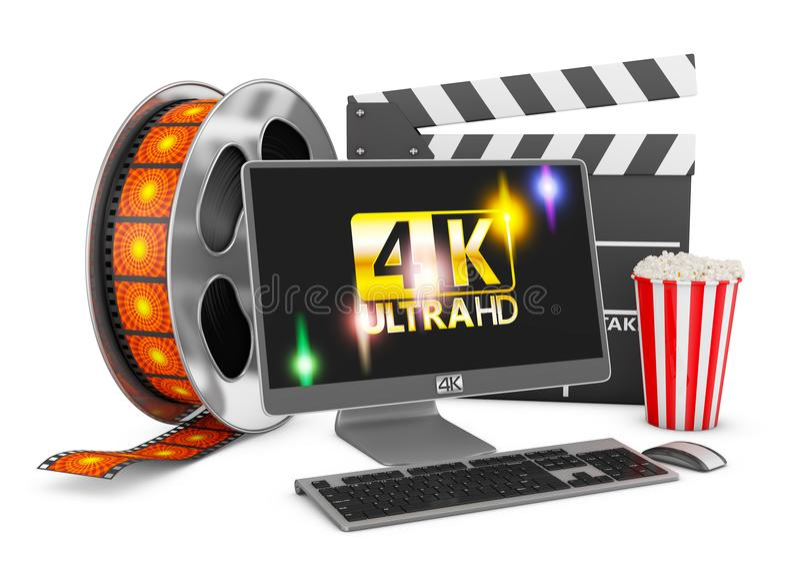 Tira do computador e do filme ilustração royalty free