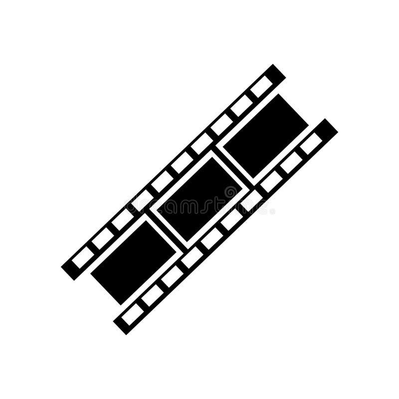 A tira do filme com um triângulo dentro do sinal e do símbolo do vetor do ícone é ilustração do vetor
