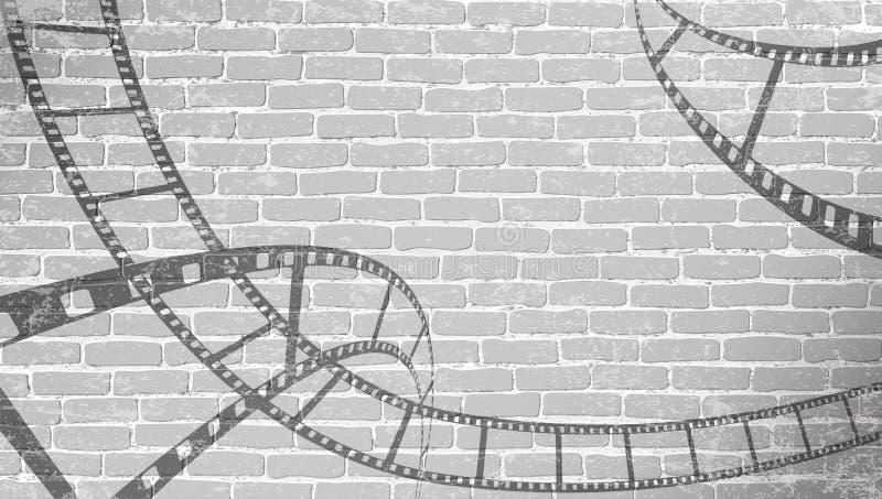Tira do filme na parede de tijolo cinzenta Fundo no estilo cinemático na parede de tijolo Fundo velho do sumário do cinema Filme  ilustração do vetor