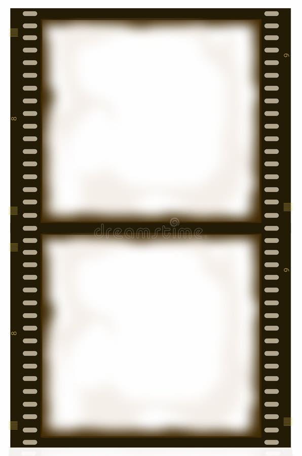 Tira do filme do Sepia do quadro dobro ilustração do vetor