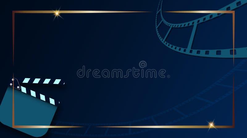 Tira e válvula-placa do filme isoladas em escuro - fundo azul com quadro do ouro Bandeira do festival do cinema do molde do proje ilustração royalty free