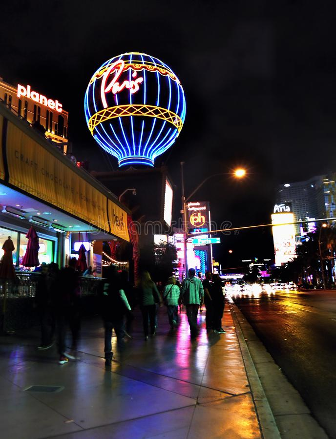 Tira famosa de Las Vegas, atrações, bulevar, noite, Nevada, EUA fotografia de stock