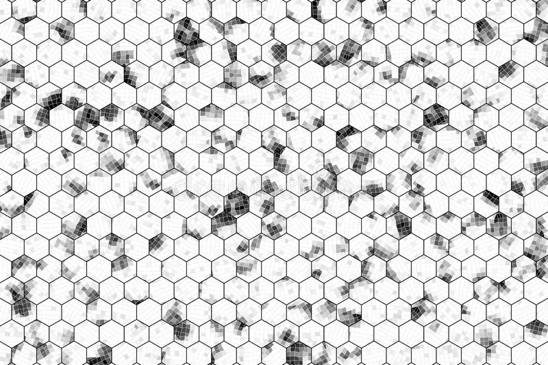 Tira, fondo o textura negro y blanco del hexágono del modelo del b&w para el diseño ilustración del vector