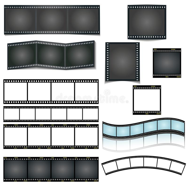 Tira isolada do filme do vetor ajustada no fundo branco ilustração do vetor