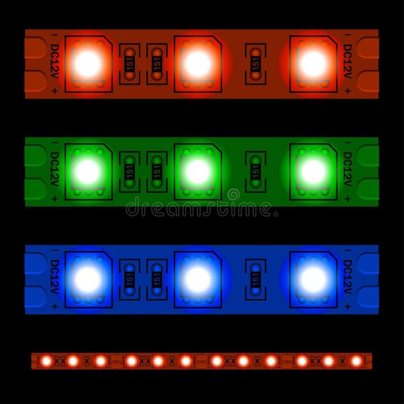 tira ligera del LED que brilla intensamente inconsútil stock de ilustración