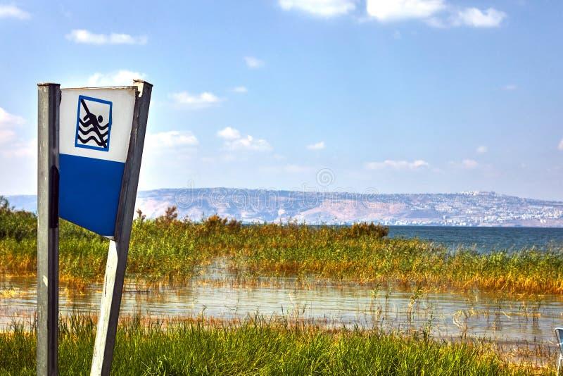 Tira litoral do lago Kinneret com arbustos e proibição de nadar julho foto de stock