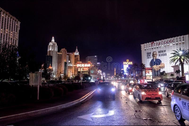 Tira na noite - Nevada de Las Vegas, EUA foto de stock royalty free