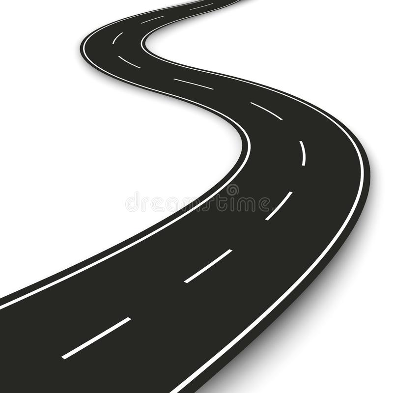 Tira ondulada da estrada Projeto do molde da tira da estrada para infographic e a bandeira Ilustração do vetor ilustração do vetor
