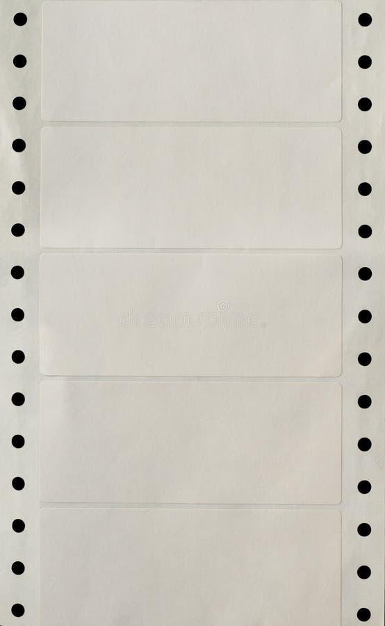 Tira perforada agujero continuo de impresora Labels fotos de archivo libres de regalías