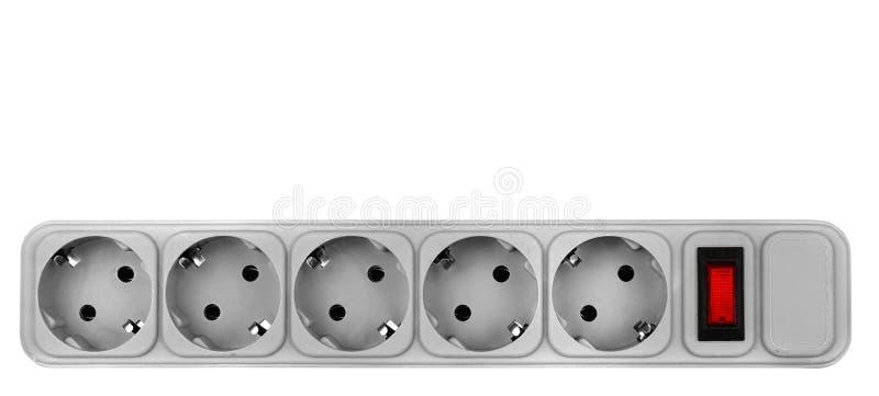 Tira plástica gris del poder aislada en el fondo blanco foto de archivo