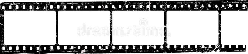 Tira sucia de la película, marcos en blanco de la foto, espacio libre para las imágenes, vector stock de ilustración