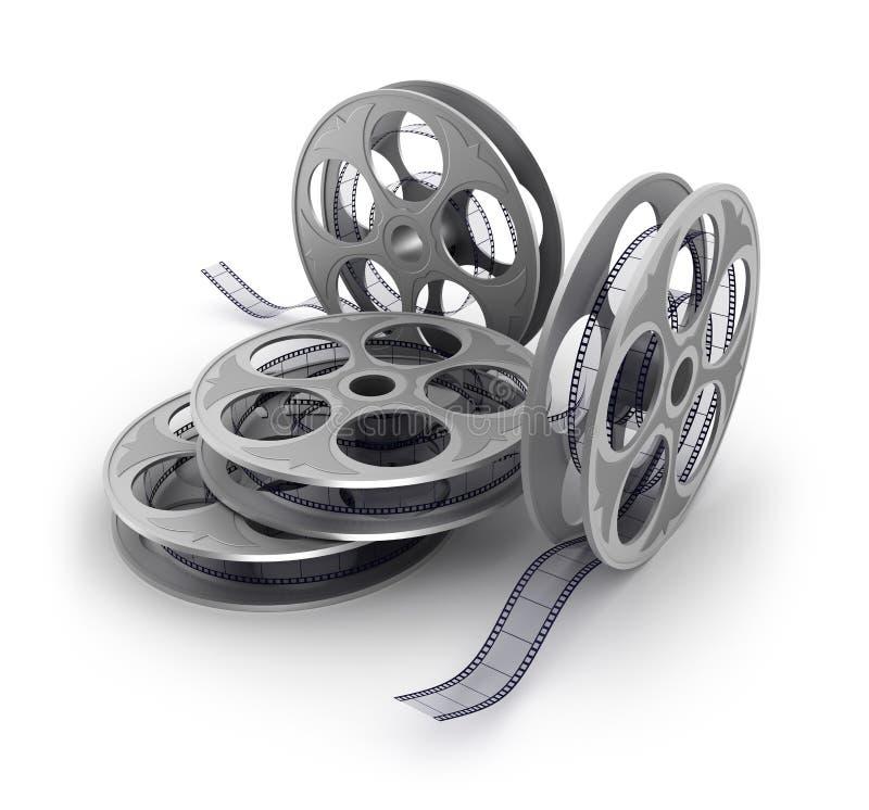 Tira velha do filme no branco ilustração stock