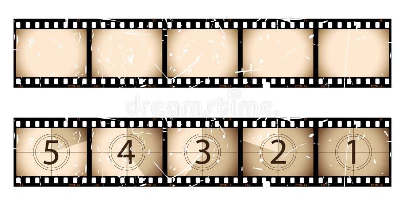 Tira y cuenta descendiente de la película de la sepia stock de ilustración