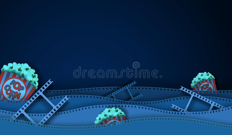 Tira y palomitas de la película de la onda aisladas en fondo oscuro Opini?n del primer para el cartel del cine de la disposici?n  stock de ilustración