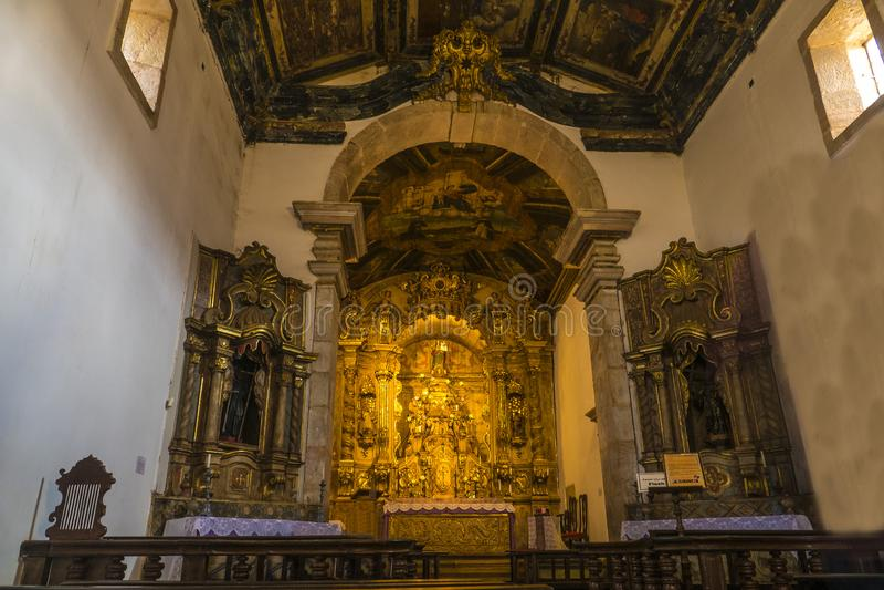 Tiradentes教会内部 库存图片