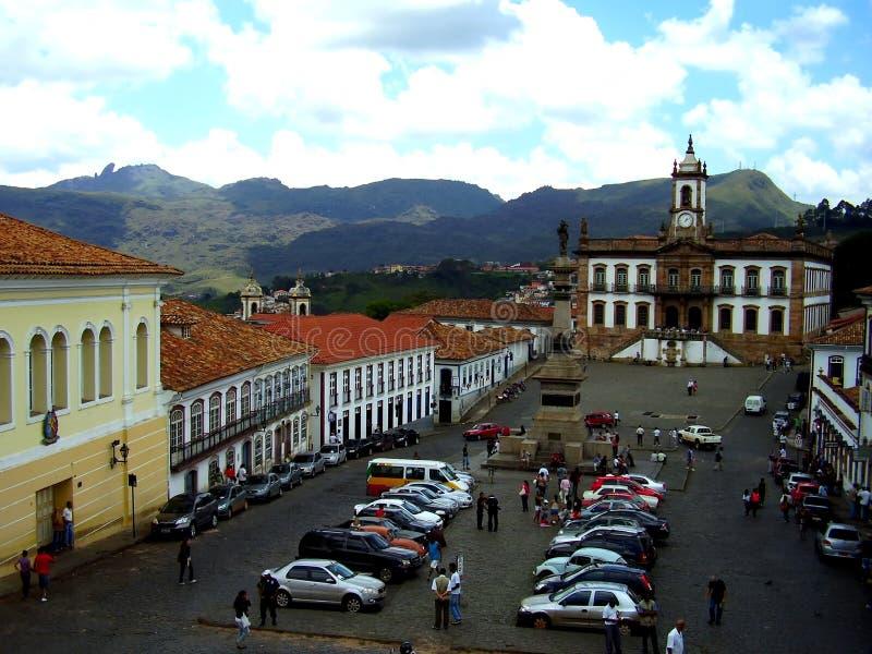 Tiradentes kwadrat w Ouro Preto minas gerais Brazylia fotografia royalty free
