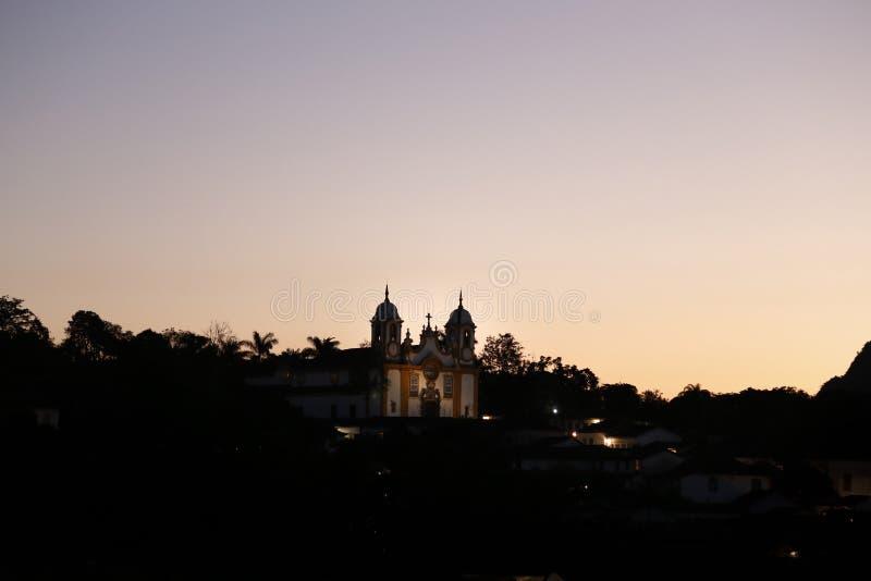 Tiradentes MG观点的Igreja Matriz de Santo安东尼奥 免版税库存照片