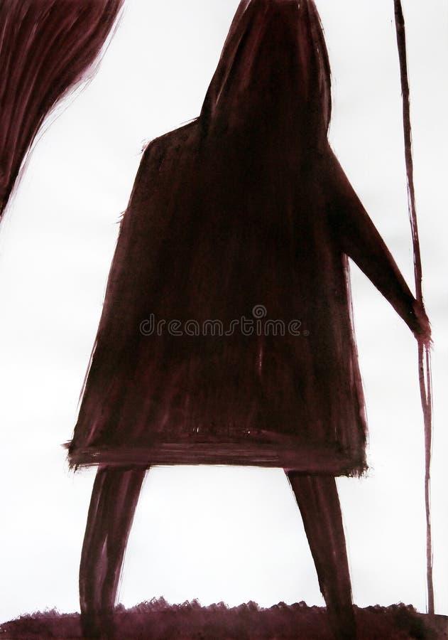 Tirado com escova a figura de um homem com uma lan?a ilustração stock