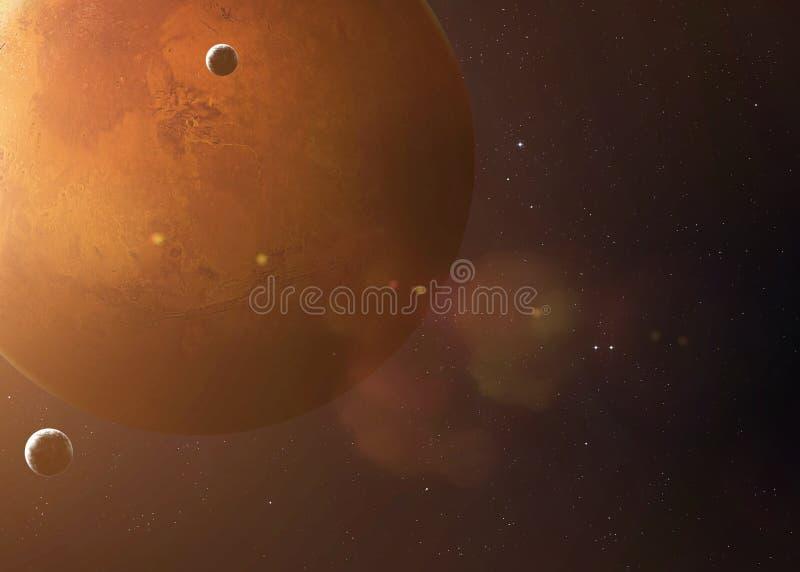 Tirado de Marte tomado de espacio abierto Imágenes del collage foto de archivo libre de regalías