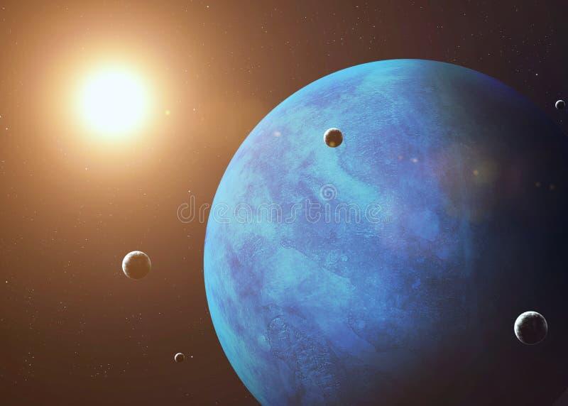 Tirado de Neptuno tomado de espacio abierto collage fotos de archivo libres de regalías