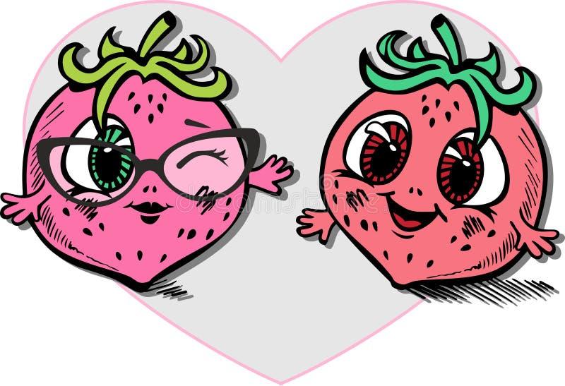 Tirado em um estilo dos desenhos animados de dois amantes de sorriso da morango fotos de stock
