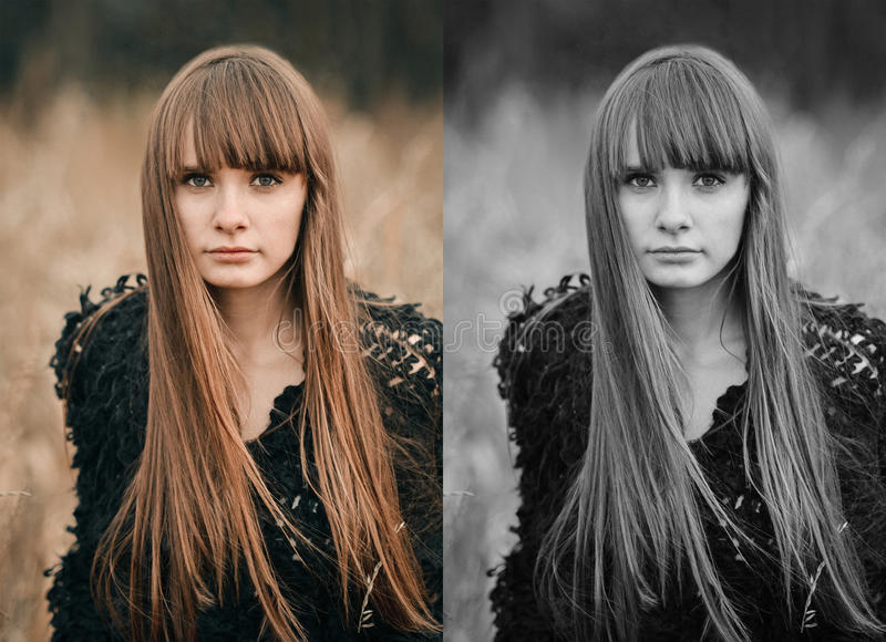 Tirado en guerra, colores de la muchacha hermosa con el pelo largo y cara linda fotos de archivo