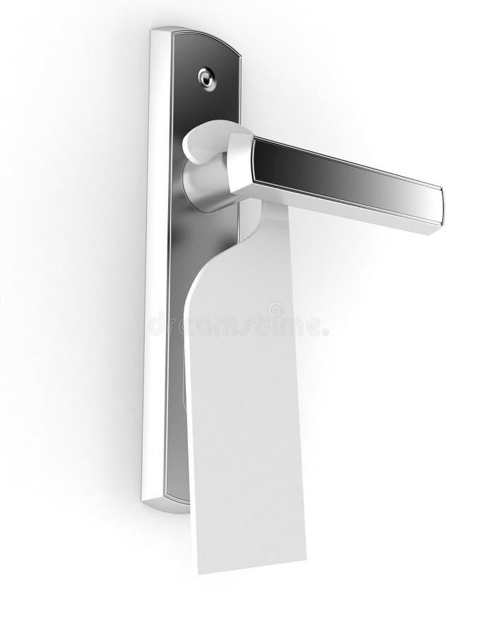 Tirador de puerta con el doorhanger en blanco libre illustration