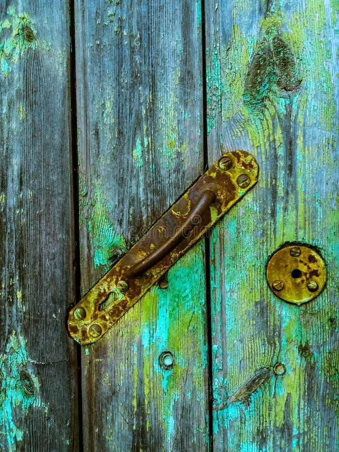 Tirador oxidado La puerta de la casa vieja viejo Textura imágenes de archivo libres de regalías
