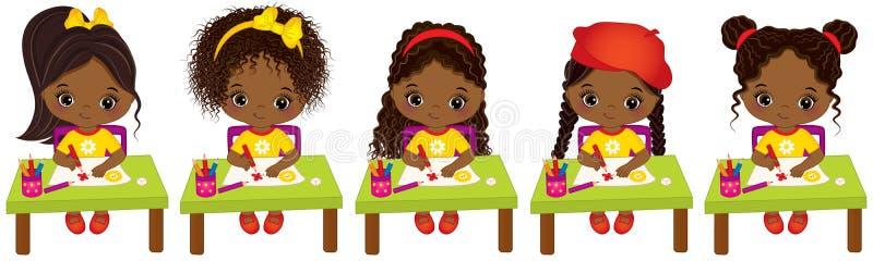 Tiragem afro-americano pequena bonito dos artistas do vetor Meninas afro-americanos pequenas do vetor ilustração do vetor