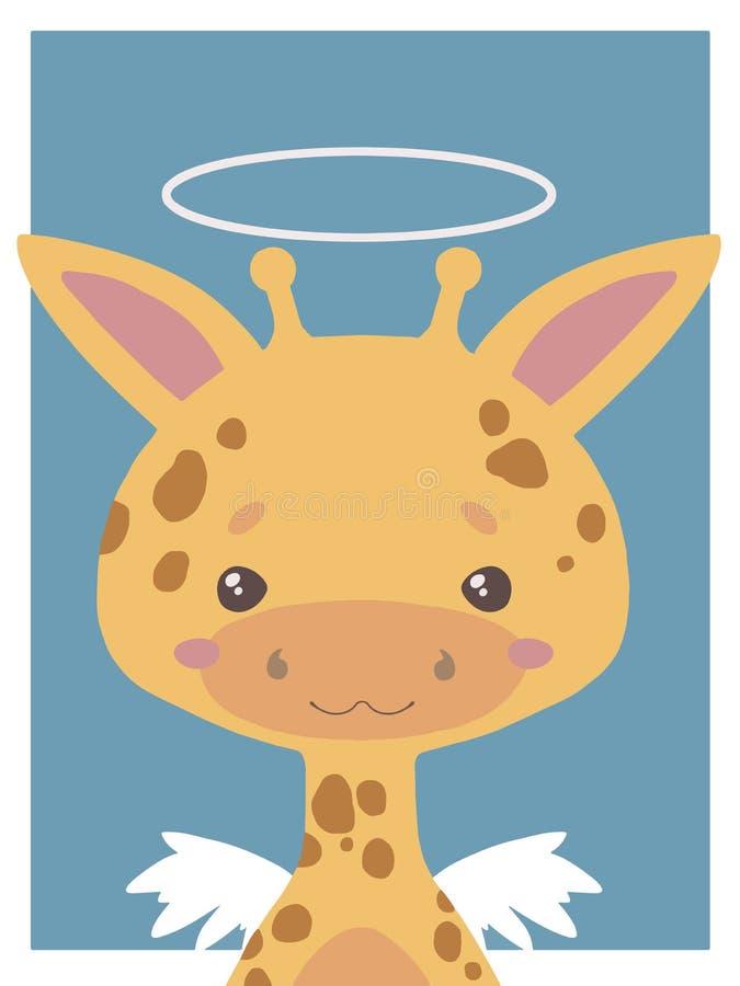 Tiragem bonito do animal do vetor do estilo dos desenhos animados de um girafa do anjo da guarda com halo e das asas apropriadas  ilustração royalty free