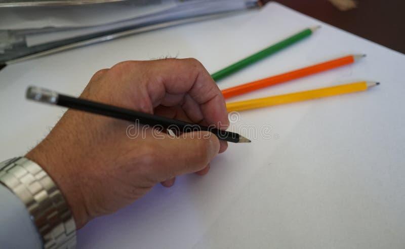 Tiragem com lápis fotos de stock