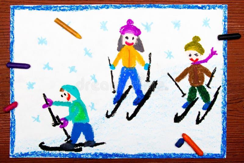 Tiragem: Crianças que aprendem esquiar ilustração stock