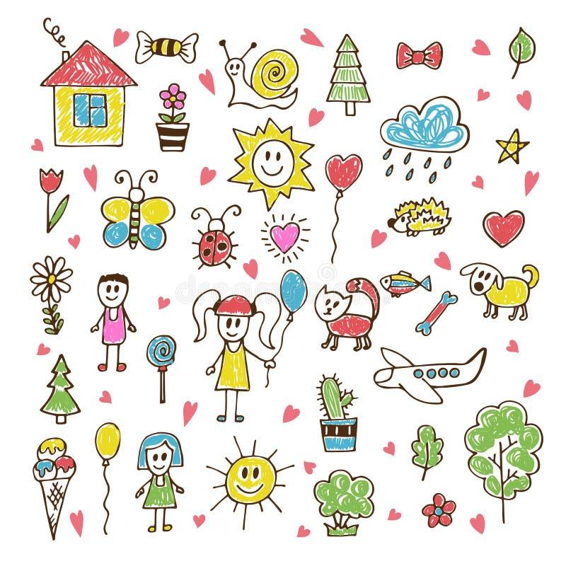 Tiragem das crianças da garatuja Grupo tirado mão de desenhos no chiqueiro da criança ilustração do vetor
